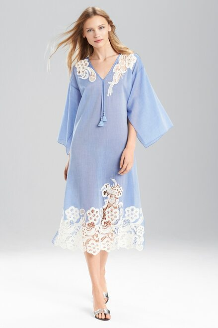 Buy Josie Natori Cotton Voile With Lace Caftan from