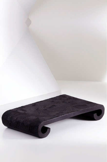 Wood Grain Metal Scroll Tray at The Natori Company