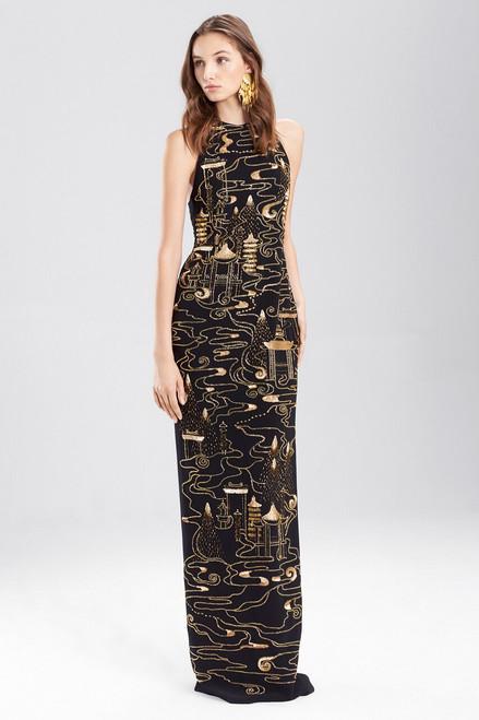 Buy Josie Natori Crepe Halter Dress With Gold Beading from