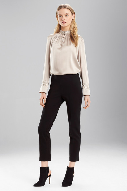 Buy Josie Natori Stretch Silk Mandarin Collar Top from
