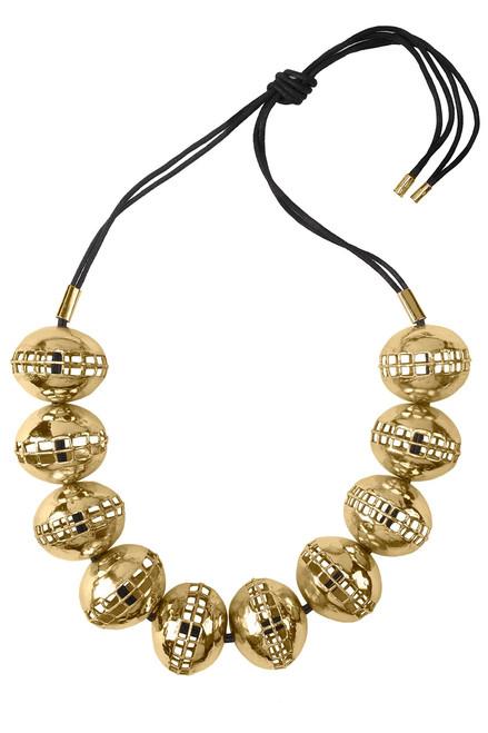 Buy Josie Natori Gold Brass Cage Round Necklace from