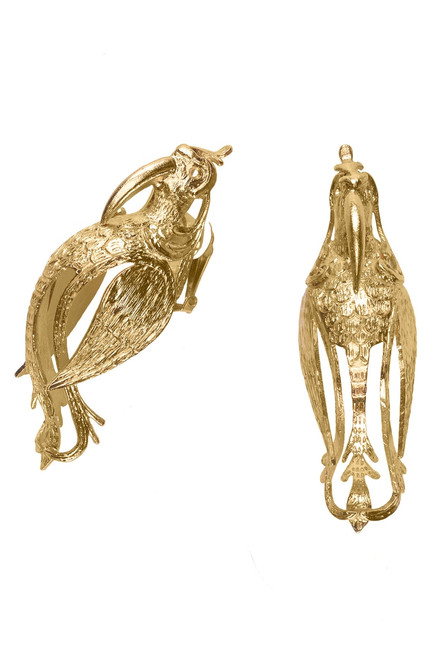 Buy Josie Natori Gold Brass Small Bird Earrings from