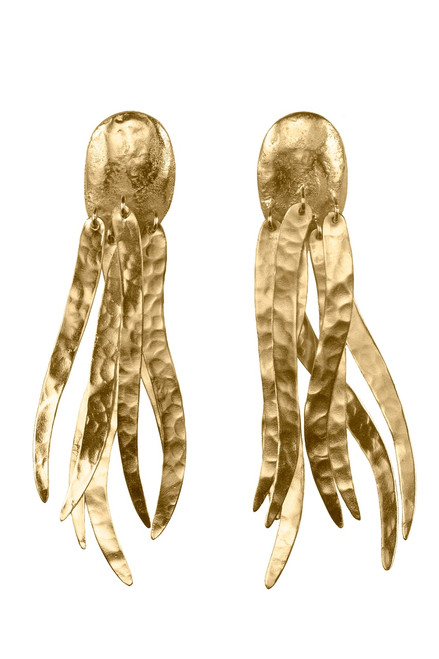 Buy Josie Natori Gold Brass Dangling Narrow Earrings from