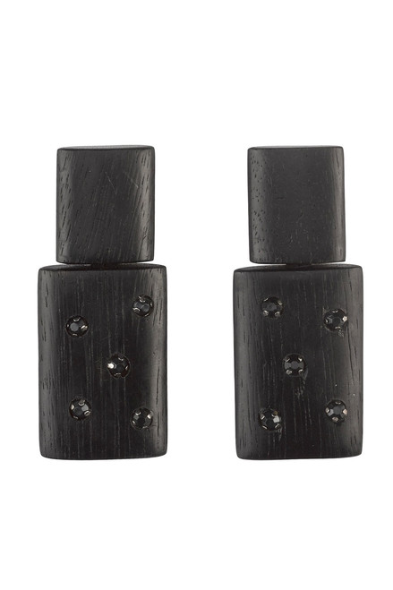 Buy Josie Natori Acacia Wood With Silver Stacked Earrings from