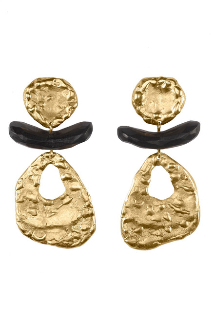 Buy Josie Natori 24K Goldplated Brass With Darkwood Cutout Earrings from