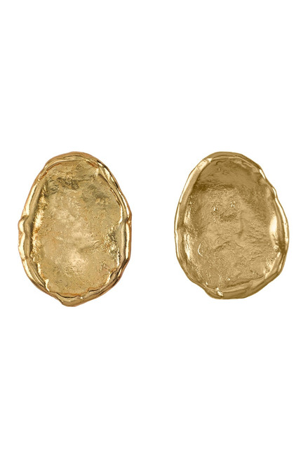 Buy Josie Natori 24K Goldplated Brass With Darkwood Oval Earrings from
