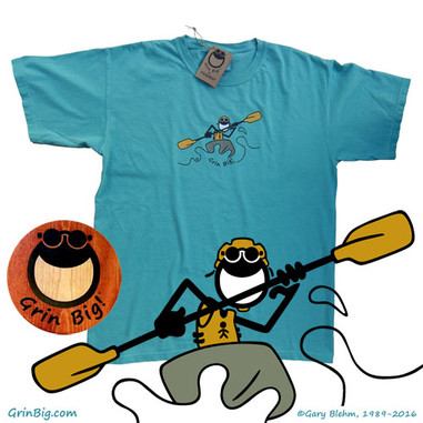 Men's comfortable cotton Kayak T-Shirt from the official Grin Big! ™ website for the Kayaker who loves kayaking in the great outdoors with the power of optimism, positive vibes, and the love of life.