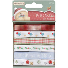 Forever Friends Christmas Ribbons Pack 1-Meter Each of 6 Charming Ribbons