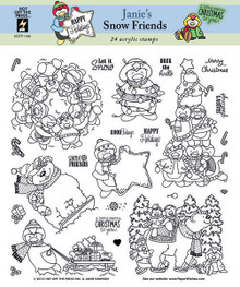 12 HOTP Janie's Snow Friends 1136 Penguins  & Polar Bears Rubber Stamps Janie Dawson Unmounted Adorable!