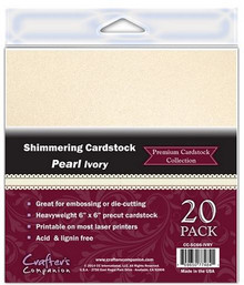 6X6 Shimmering Cardstock PEARL IVORY 20 Sheets Great for embossing and die cutting Crafter's Companion
