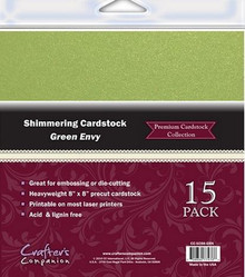 8x8 Shimmering Cardstock GREEN ENVY 15 Sheets Great for embossing and die cutting Crafter's Companion
