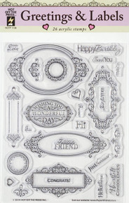 HOTP Greetings & Labels N1138 26 Rubber Stamps Unmounted