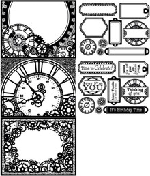 Color Me Clocks and Gears Card Toppers Paper Pack Steampunk