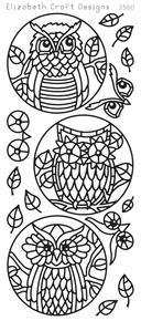 ELIZABETH CRAFT Owl Circles EC2560 SILVER Peel Off Stickers OUTLINE