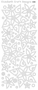 ELIZABETH CRAFT POINSETTIAS 0380 Black Peel Off Stickers OUTLINE