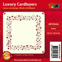 Luxury Cardlayers 3pc Sprinkle Flowers Square C5826 Ivory Laser-Cut Card Accents Making