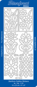 Starform 6 FLOWER DESIGNS 1118 BLACK  Peel Stickers OUTLINE