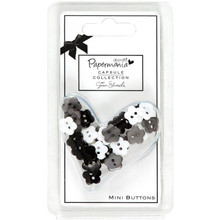 Bexley Black Mini Daisy Buttons 3/8inch 30pcs Papermania