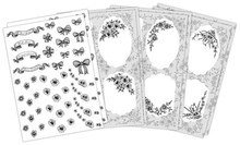 Vintage Embroidery 3-D Line Art Line Art Toppers Monochromatic 8 Die-Cut Sheets