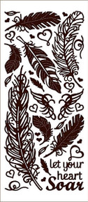 HOTP Dazzles BROWN FEATHER 2476 STICKERS Outline Stickers