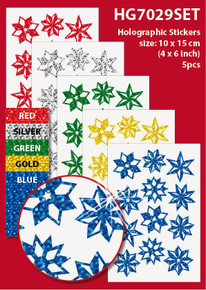 "5-Sheet Pinwheel Stars 4x6"" Holographic HG7029SET Gold Blue Green Red Stickers Set Peel"