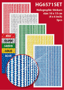 "5-Sheet Assorted Borders 4x6"" Holographic HG6571SET Gold Blue Green Red Stickers Set Peel"