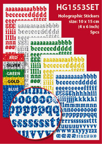 "5-Sheet LC Alphabet 4x6"" Holographic HG1553SET Gold Blue Green Red Letter Stickers Set Peel"