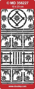 MD356227 Bamboo Corners & Accents Double Embossed Etched Asian Peel Stickers One 9x4 Sheet