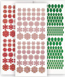 HOTP Dazzles 3-Pack Pink Tiny Flowers Stickers 2490 Holographic & Mirror & Green Mirror Leaves Peel Style Outline Stickers