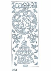 Starform BIRD WREATH N963 SILVER Peel Stickers OUTLINE