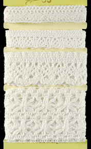 Petaloo Crochet Ivory Ribbon Fancy Trims Pack 4-Per Pack