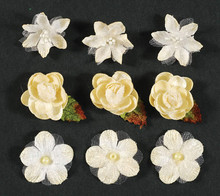 Petaloo 3-D Ivory Blossoms Flowers Textured Elements 9-Per Pack