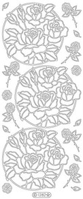 Starform CIRCLE OF ROSES SILVER N1282 Peel Off Stickers OUTLINE