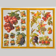 Mamelok Scrap Reliefs Fruit Golden Embossed & Die Cut Images 2 Sheets