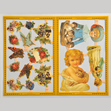 Mamelok Scrap Reliefs Children with Kittens Golden Embossed & Die Cut Images 2 Sheets