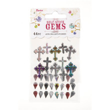 Stick On Rhinestones 44pc Cross and Teardrop - Black, Clear, Red, AB Beautiful & Sparkly!