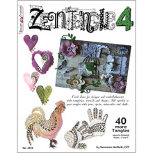 Zentangle 4 with Templates Stencils Shapes Sparkle Book 40-More Tangles Drawing Inspiration Ideas Instruction