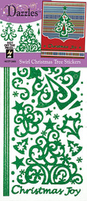 HOTP Dazzles 2465 Swirl Christmas Tree Glitter Green Peel Style Stickers