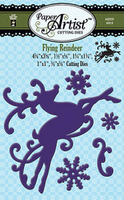 Paper Artist N5312 Flying Reindeer 5-die Set Cutting Dies by Hot Off the Press Works in Most Popular Tabletop Die Cutting Machines