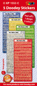 5-Sheet XP1553C BRIGHT LC Alphabet Holographic Greeting Silver Gold Blue Green Red Letter Stickers Set Peel