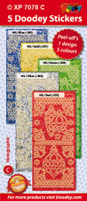 5-Sheet XP7078C BRIGHT Ornaments Borders Corners Holographic Blue Gold Green Silver Red Stickers Set Peel