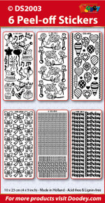 6-Sheet DS2003-102 SILVER Metallic Outline Birthday Sticker Set Party Roses Balloons, Bows Borders/Corners Happy Birthday