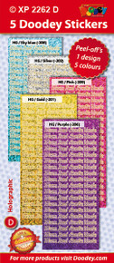 5-Sheet XP2262D SOFT Mum Dad Auntie Uncle Family Words Holographic Greeting Silver Gold Light Blue Purple Pink Word Stickers Set Peel