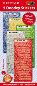 5-Sheet XP2358C BRIGHT BEST WISHES Holographic Greeting Blue Gold Green Silver Red Stickers Set Peel