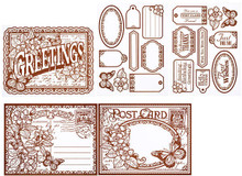 Color Me BROWN POST CARDS Card Toppers 7064 SM Paper Pack by HOTP