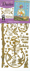 HOTP Dazzles FISHIES N2446 MIRROR GOLD Outline Stickers