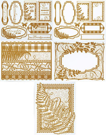Color Me Gold Fern Card Toppers 7062 SM Paper Pack by HOTP