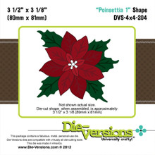 Die-Versions DVS-4X4-204 POINSETTIA 1 Shape Cutting Die