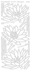 ELIZABETH CRAFT WATERLILLY N2528 SILVER Peel Off Stickers OUTLINE