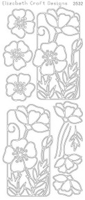 ELIZABETH CRAFT FLOWERS IN FRAME SILVER N2532 Peel Off Stickers OUTLINE
